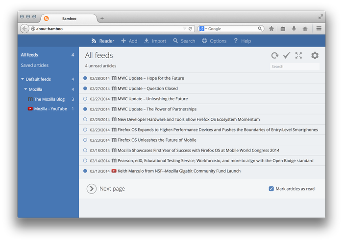 Bamboo Feed Reader :: Add-ons for Firefox