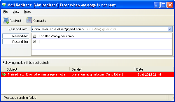 mail redirect add ons for thunderbird