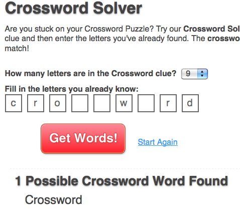 Puzzles word clues for crossword One Across