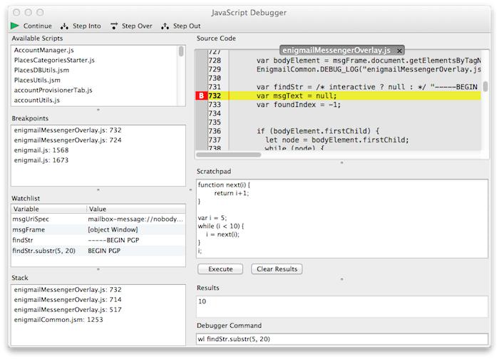 Tiny JavaScript Debugger :: Add-ons for Thunderbird